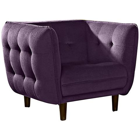 Venice Retro Deep Purple Plush Button-Tufted Armchair