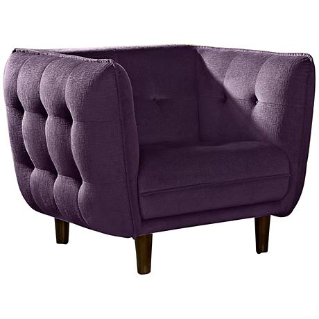 Venice Retro Deep Purple Plush Button-Tufted Armchair