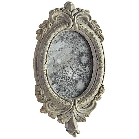 "Addie Antique Ash 8 1/4"" x 14"" Oval Wall Mirror"