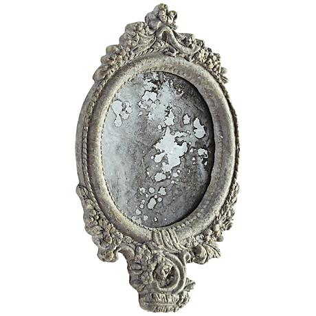 """Ansley Antique Ash 7 1/4"""" x 12 1/4"""" Oval Wall Mirror"""