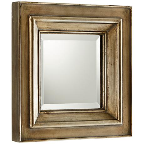 "Barclay Silver Oxide 18"" Square Wood Wall Mirror"