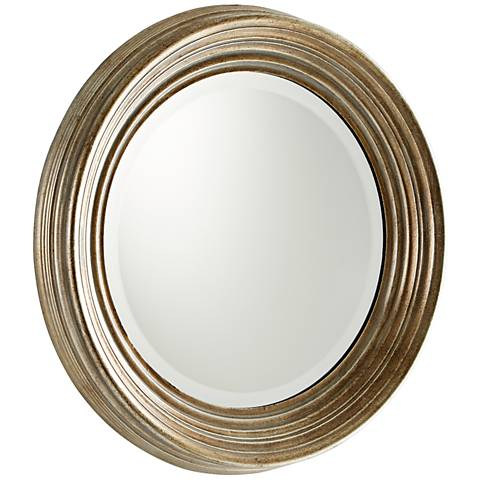 "Marcy Silver Wood 20 1/2"" Wide Round Wall Mirror"