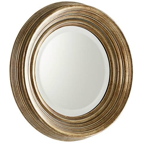 "Bushwich Silver Iron 16 1/2"" Wide Round Wall Mirror"