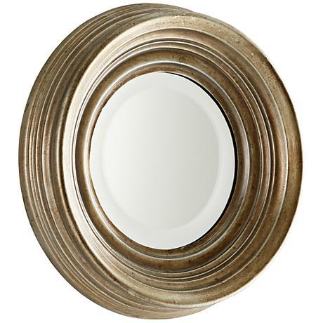 "Bushwich Silver Iron 13 1/2"" Wide Round Wall Mirror"