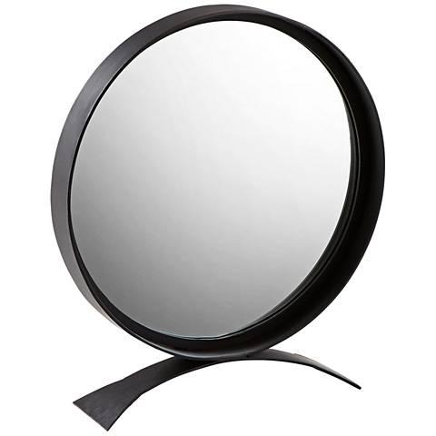 "Orbem Matte Black Iron 22"" x 27"" Tabletop Mirror"