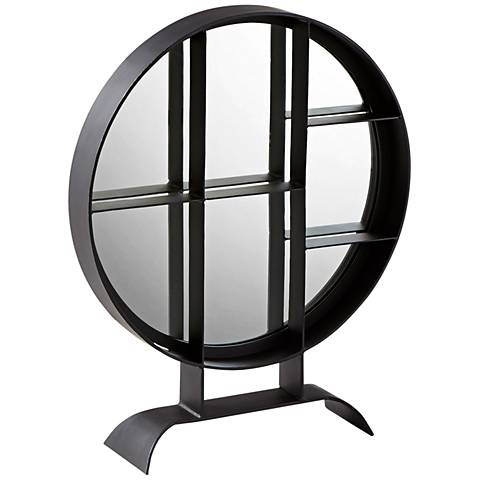 "Nexus Matte Black Iron 32"" x 38"" Tabletop Accent Mirror"