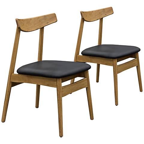 Clifford Retro Black Leatherette Oak Side Chair Set of 2