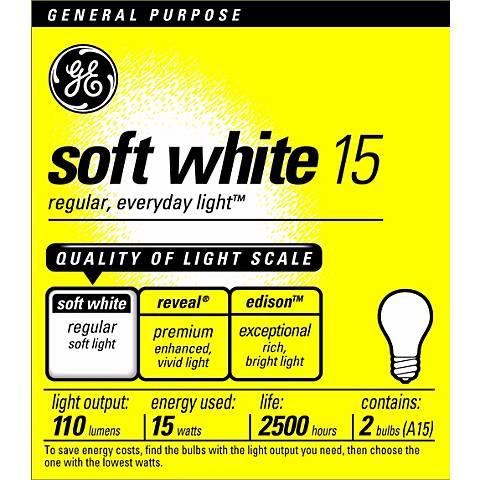 GE 15 Watt 2-Pack Soft White Light Bulbs