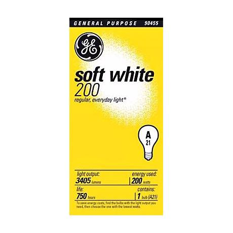 GE 200 Watt Soft White A21 Light Bulb