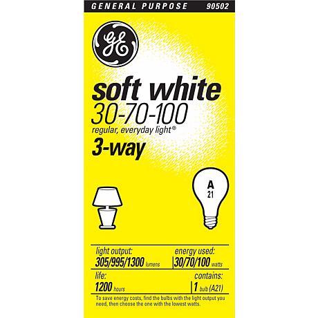 GE 3-Way Soft White Bulb -  30/70/100 Watts