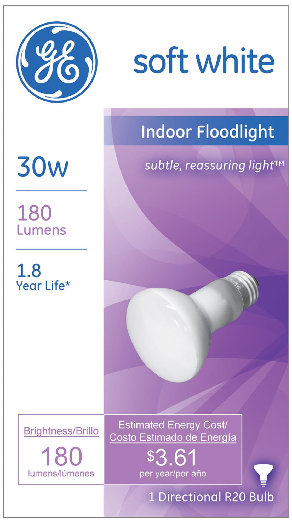 ge 30watt r20 reflector light bulb