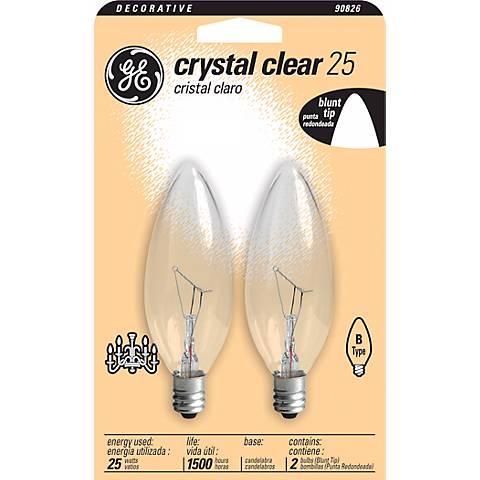 GE 25 Watt Blunt Tip 2-Pack Candelabra Light Bulbs