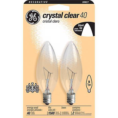 GE 40 Watt 2-Pack Blunt Tip Clear Glass Candelabra Bulb