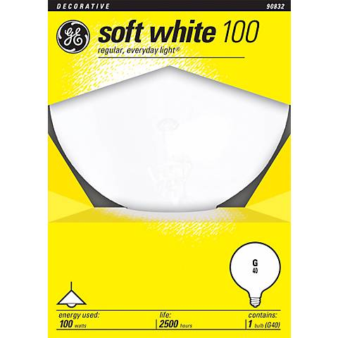 GE 100 Watt Medium Base White Globe Light Bulb