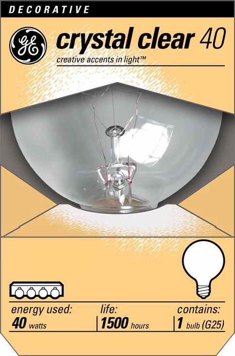 GE 40 Watt G25 Clear Base Decorative Light Bulb  sc 1 st  L&s Plus & GE 40 Watt G25 Clear Base Decorative Light Bulb - #90880 | Lamps Plus azcodes.com