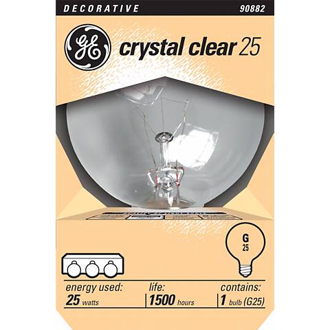 GE Crystal Clear 25 Watt Globe Bulb