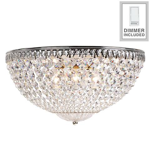 "Schonbek Silver 14"" W Crystal Flushmount with Dimmer"