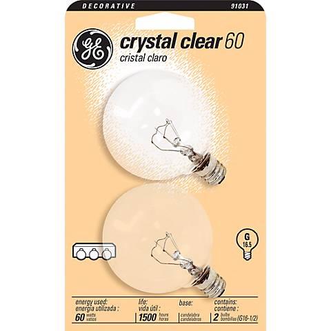 GE 60 Watt 2-Pack Clear G-16 Candelabra Light Bulbs