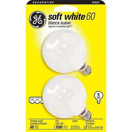 GE 60 Watt G16-1/2 Globe 2-Pack Candelabra Base Light Bulbs