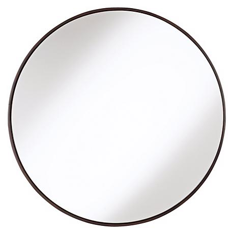 """Round Wood Trimmed 34"""" Wide Wall Mirror"""