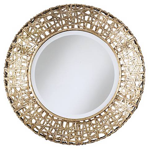 Alita Champagne Finish Woven Metal Round Wall Mirror