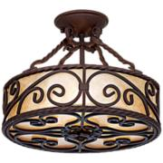 """Natural Mica Collection 15"""" Wide Iron Ceiling Light Fixture"""