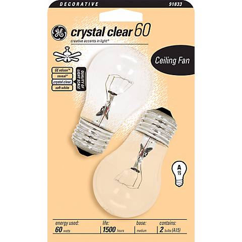 GE 60 Watt Crystal Clear 2-Pack Ceiling Fan Bulbs
