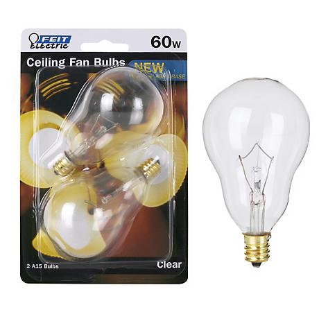 Feit 60 Watt A15 2-Pack Clear Candelabra Bulb