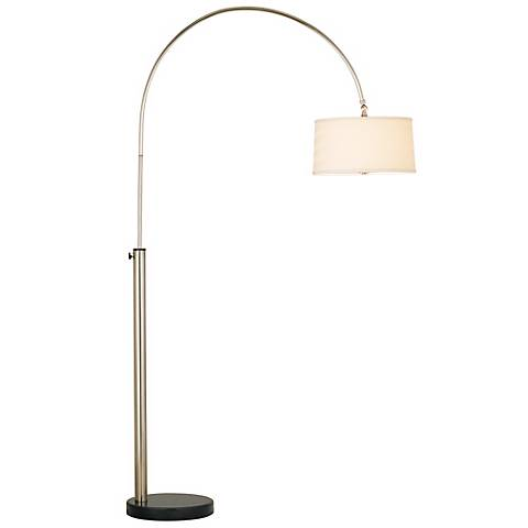 Contemporary Arc with Linen Shade Floor Lamp