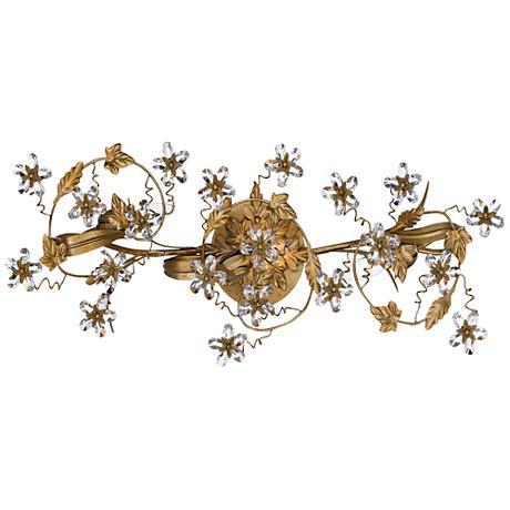 "Crystal Flower and Vine 25"" Wide Gold Bathroom Light Fixture"