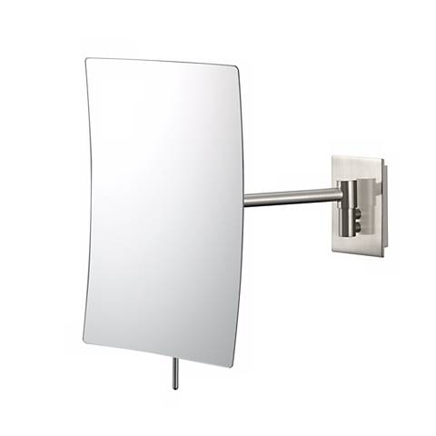 "Brushed Nickel Minimalist Wall Mount 9 1/2"" High Mirror"