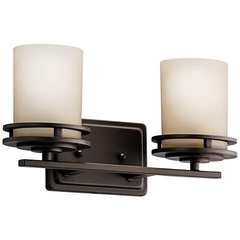 """Hendrik Bronze 14 1/2"""" Wide Bathroom Light Fixture"""