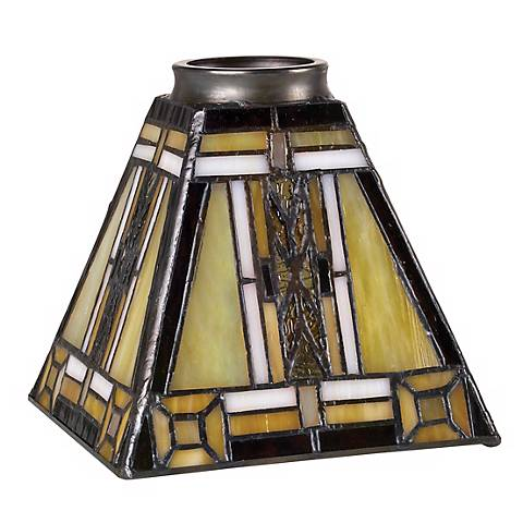 """2 1/4"""" Fitter Set of Four Mission Tiffany Glass Shades"""
