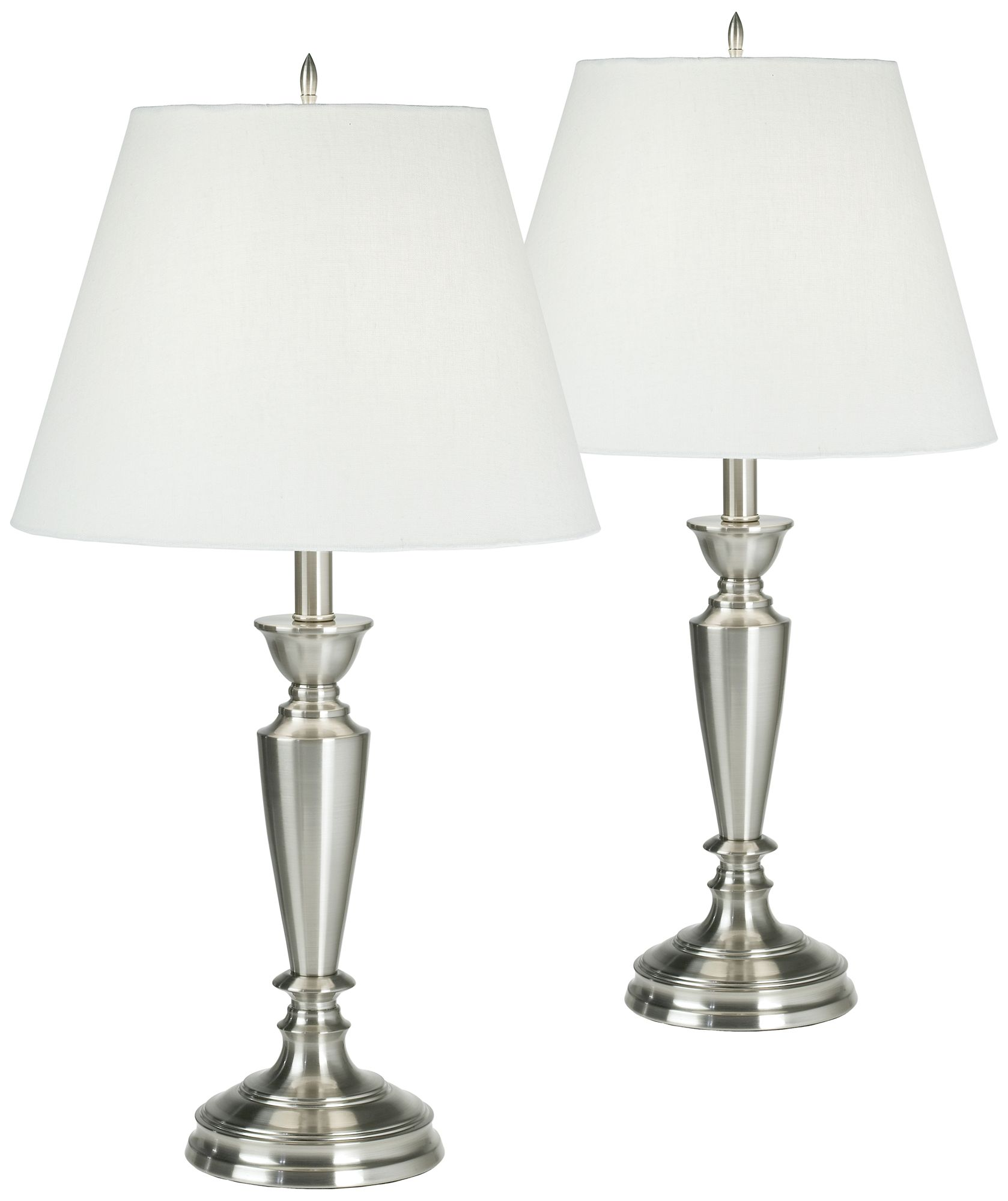 Set Of Two Brushed Steel Table Lamps