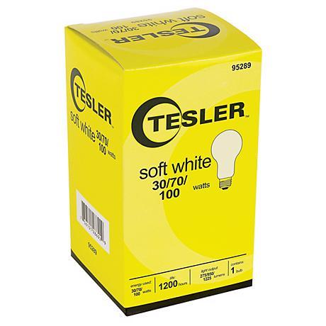 Tesler 30 70 100 Watt Soft White A21 Light Bulb