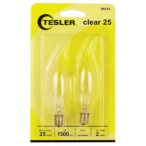 Tesler 25 Watt 2-Pack Blunt Tip Candelabra Light Bulbs