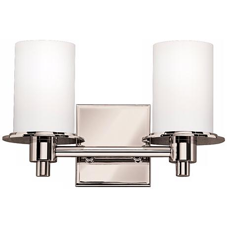 """Polished Nickel and Etched Glass 13"""" Wide Bathroom Light"""