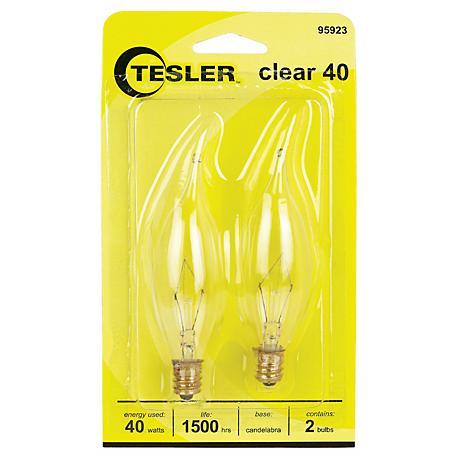 Tesler 40 Watt 2-Pack Bent Tip Candelabra Light Bulbs