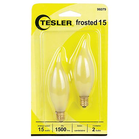 Tesler 15 Watt 2 Pack Frosted Bent Tip Candelabra Bulbs 96079 Lamps Plus