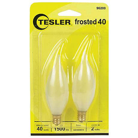 Tesler 40 Watt 2-Pack Frosted Bent Tip Candelabra Bulbs