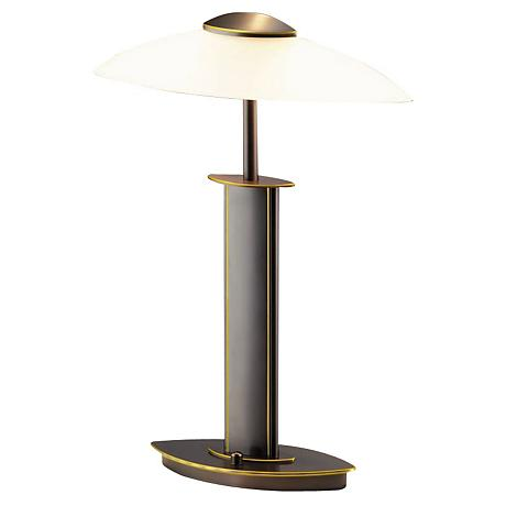Holtkoetter Old Bronze and Satin White Glass Lamp