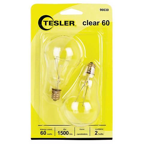 Tesler 60 Watt 2-Pack Clear Ceiling Fan Candelabra Bulbs