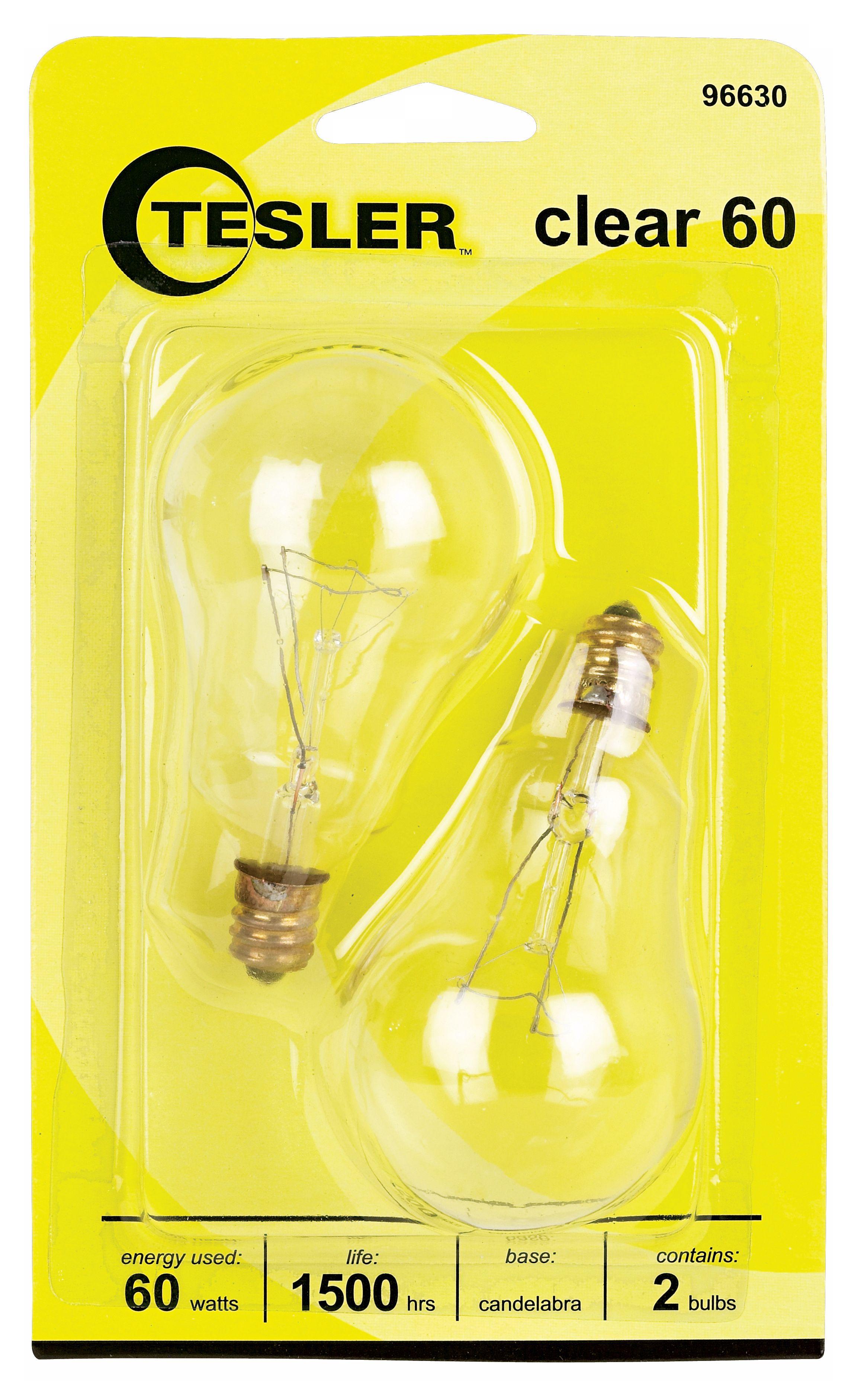 tesler 60 watt 2pack clear ceiling fan candelabra bulbs