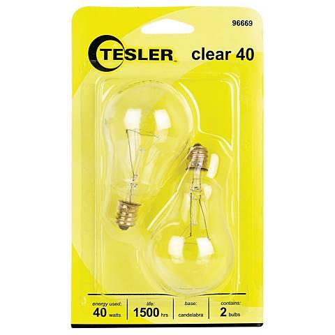Tesler 40 Watt 2-Pack Clear Ceiling Fan Candelabra Bulbs