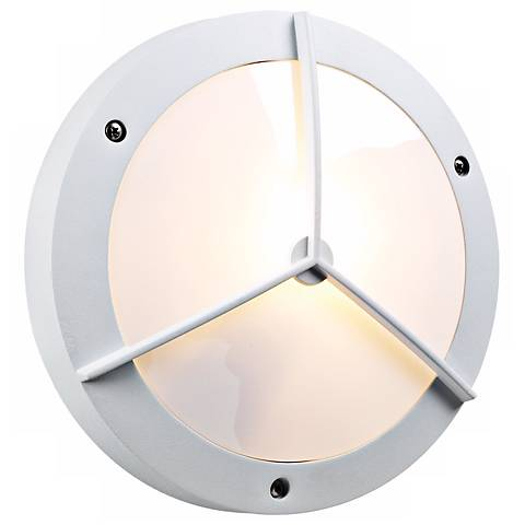 "PLC White 11"" Wide Round Ceiling or Wall Outdoor Light"