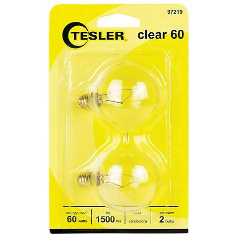 Tesler 60 Watt 2-Pack G16 1/2 Clear Candelabra Light Bulbs