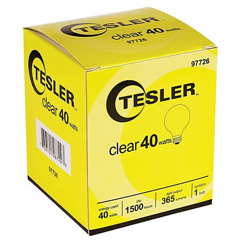 Tesler 40 Watt G25 Clear Glass Light Bulb