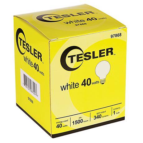 Tesler 40 Watt G25 White Glass Light Bulb
