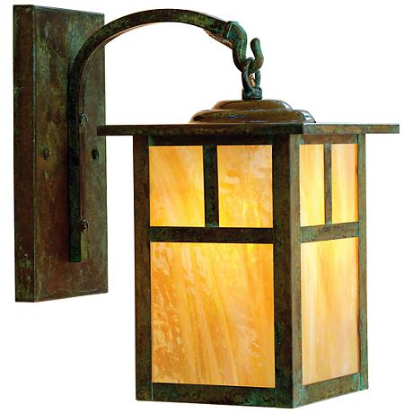 "Mission 10 1/2""H Gold Glass Lantern Outdoor Wall Light"