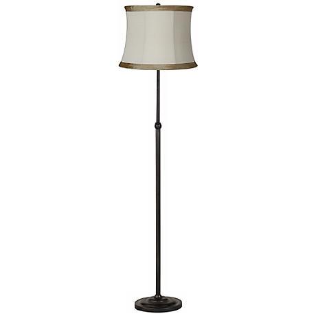 Pleated Ivory Taupe Bronze Adjustable Floor Lamp